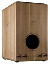 [Leiva Omeya Master Series Cajon Rear View Showing 4 External Snare Adjusters & Sound Hole]